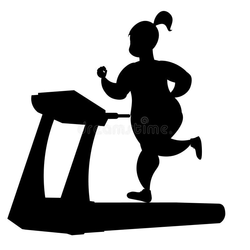 Girl silhouette running on a treadmill. royalty free illustration