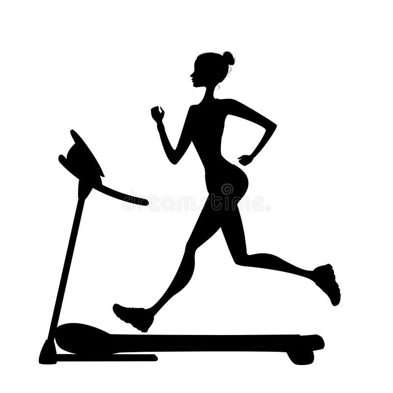 Girl silhouette running on a treadmill stock illustration