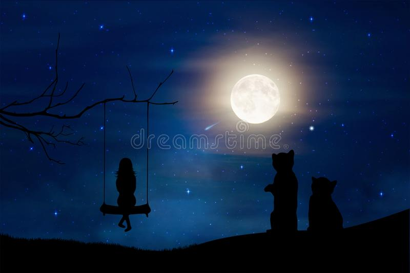 Girl silhouette on swing and two cats watching the full moon night sky background. Girl silhouette on a swing hanging from a tree branch and two little black royalty free illustration