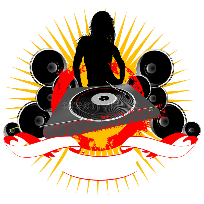 Free Girl Silhouette, Turntable And Sound Royalty Free Stock Photos - 1932098
