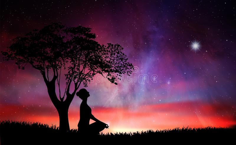 Girl silhouette under a tree, meditation in nature, under stars vector illustration