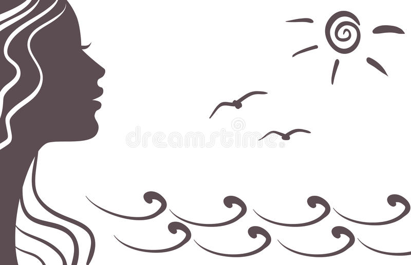 Download Girl Silhouette On Vacation Stock Vector - Illustration: 19517897