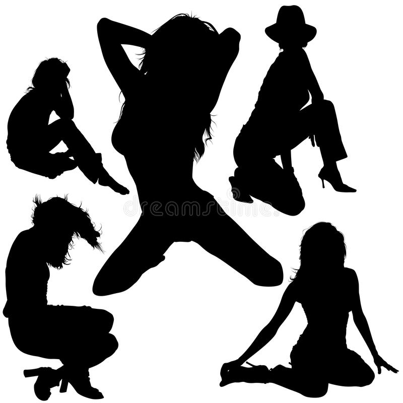 Girl Silhouettes royalty free illustration