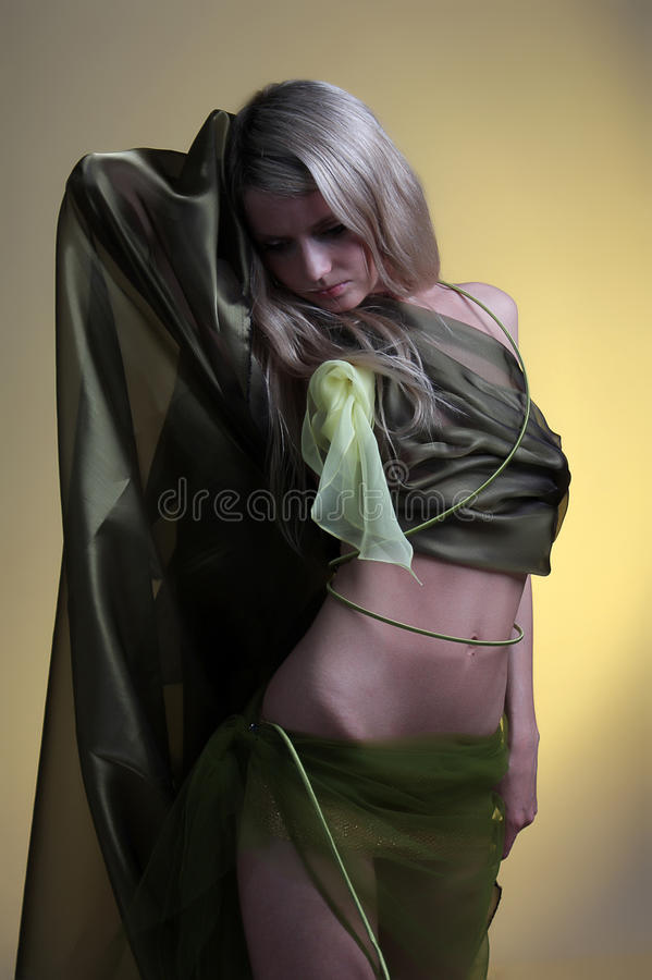 Girl and silk. Portrait of a beautiful girl in silk dress.Isolated studio portrait stock photos