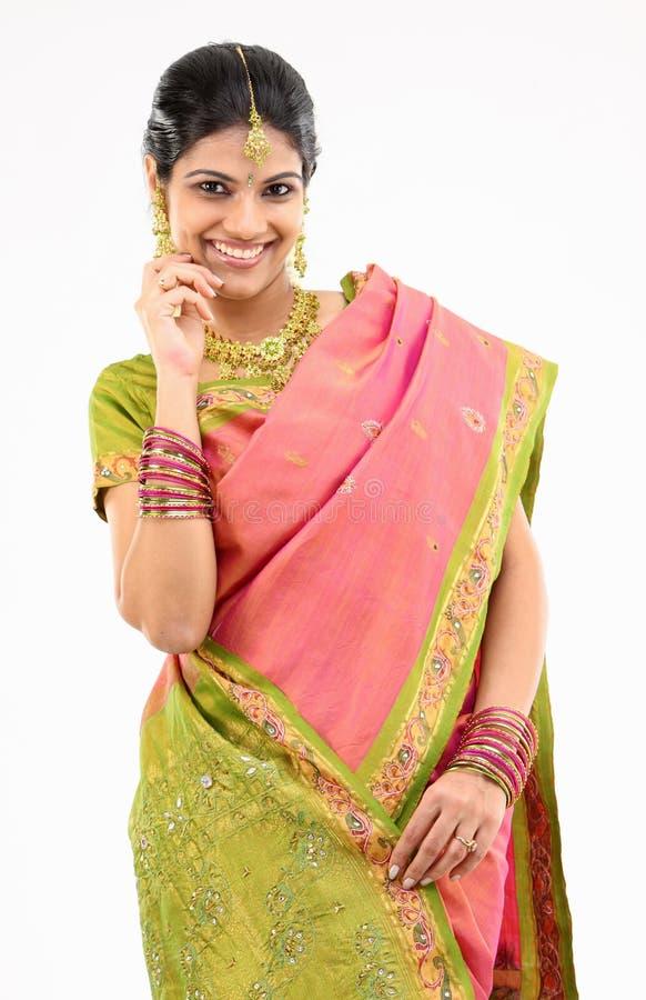 Girl in silk sari royalty free stock images