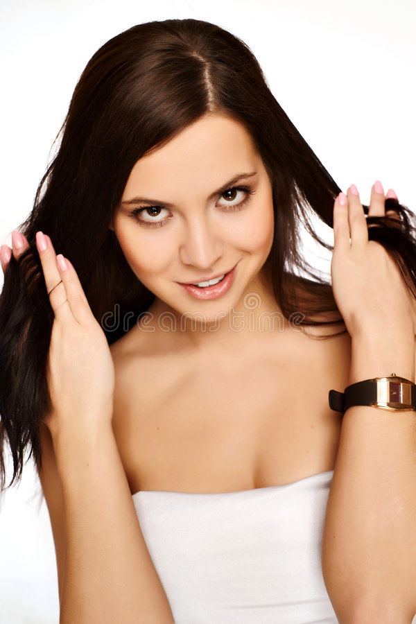 Download Girl with silky hair on stock photo. Image of hair, beauty - 9189544