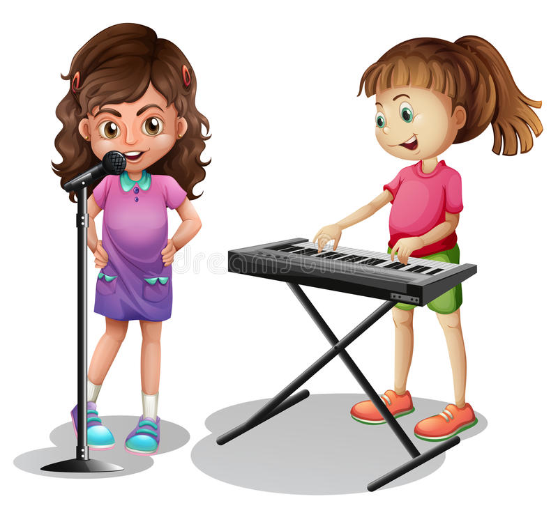 Free Girl Singing And Girl Playing Electronic Piano Royalty Free Stock Image - 79982256