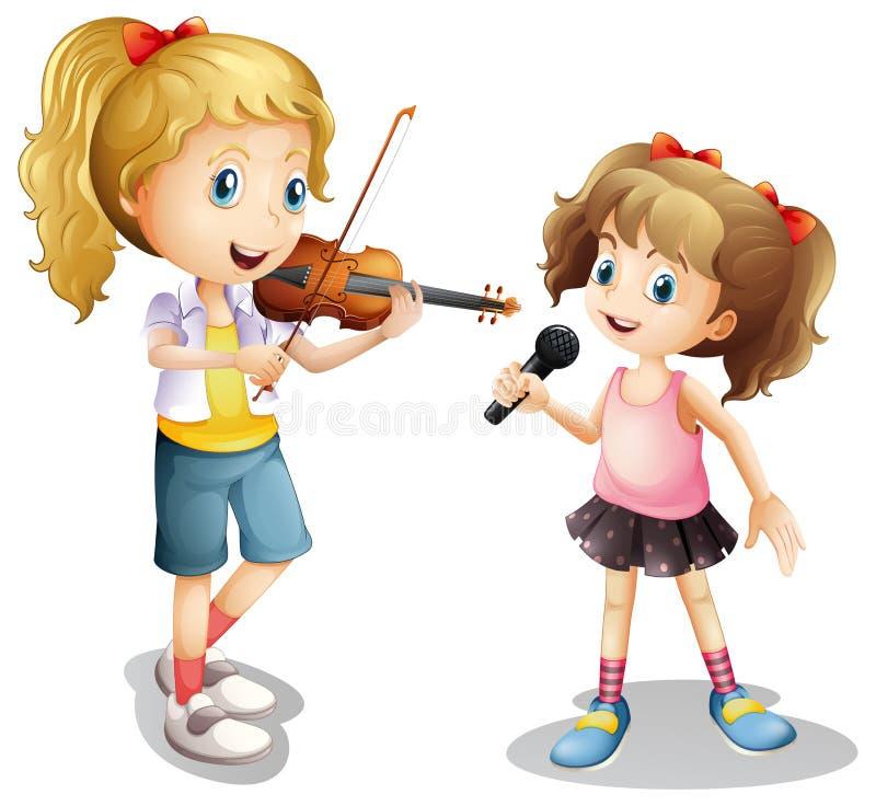 Girl singing and girl playing violin vector illustration