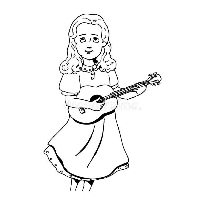 Girl Singing At The Guitar Stock Photo