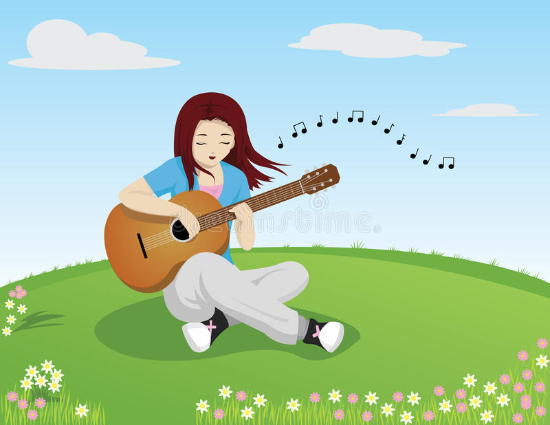 Download Girl Singing While Playing Guitar Stock Vector - Illustration: 22093924