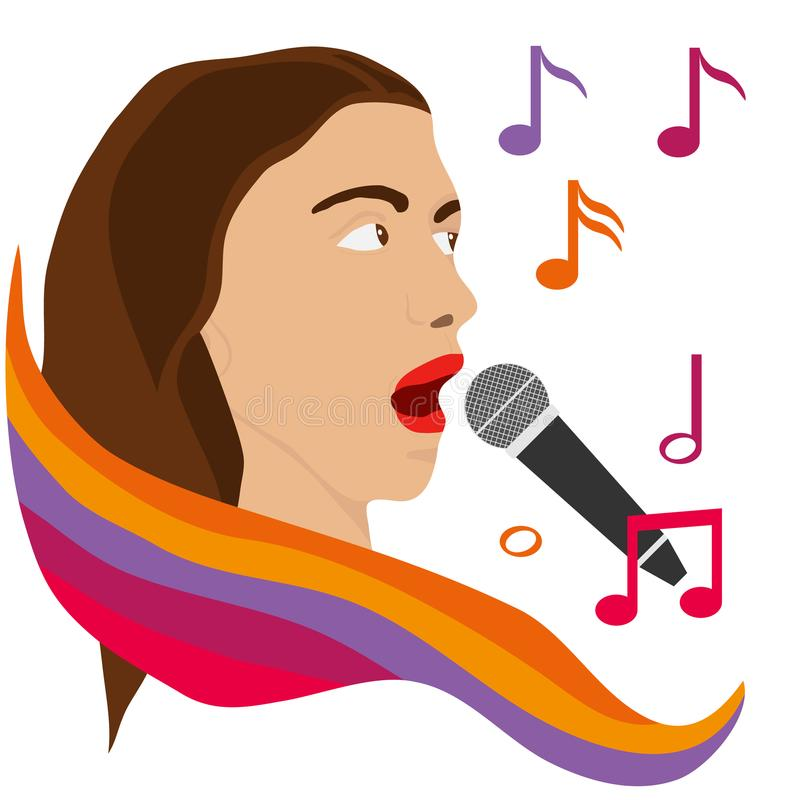 The girl sings into the microphone. The girl`s head with a microphone. Karaoke. stock illustration