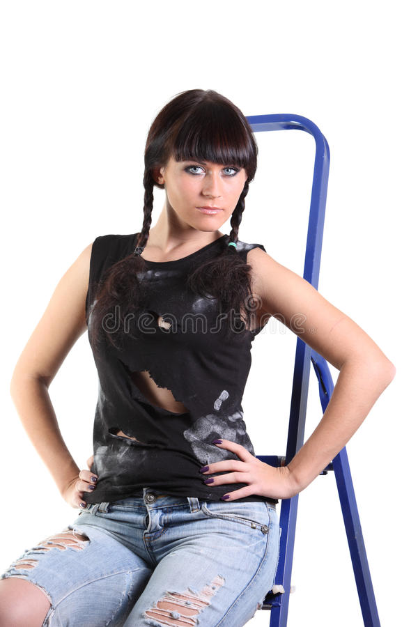 Girl Sit On A Stepladder Stock Photos