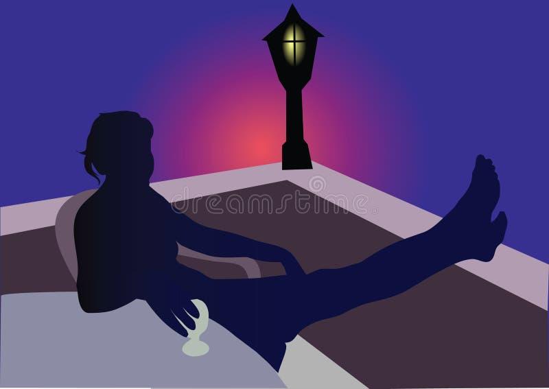 Girl siting on balcony vector illustration