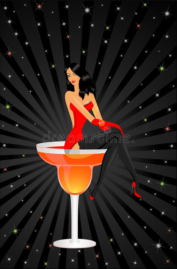 Download Girl Sits In A Glass With A Cocktail Stock Vector - Illustration of illustration, sparkling: 11020069