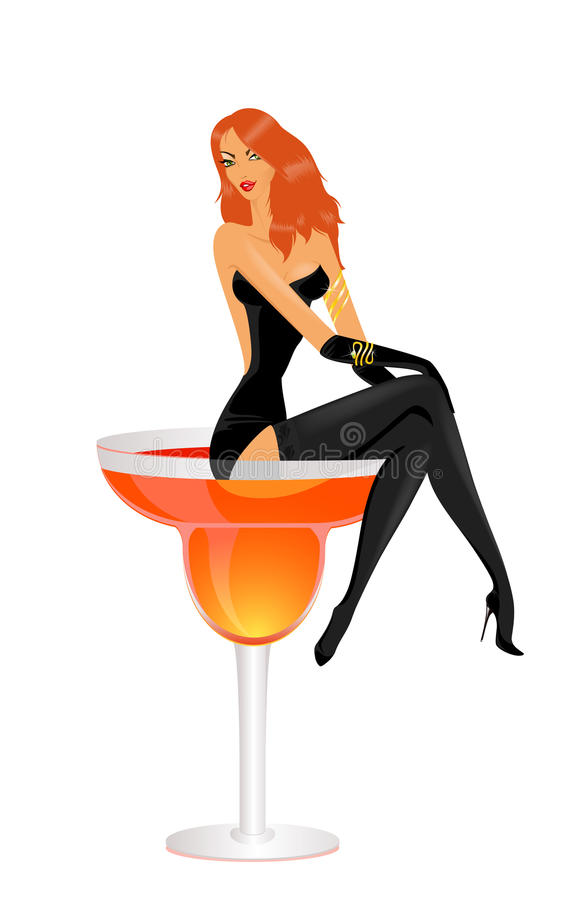 Girl sits in a glass with a cocktail stock illustration