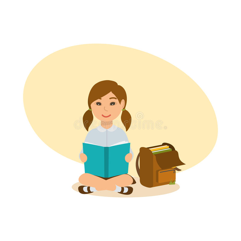 Girl sits on ground, on lawn, reads the school book. The girl sits on the ground, on the lawn, reads the school book, next to her there is a backpack with royalty free illustration