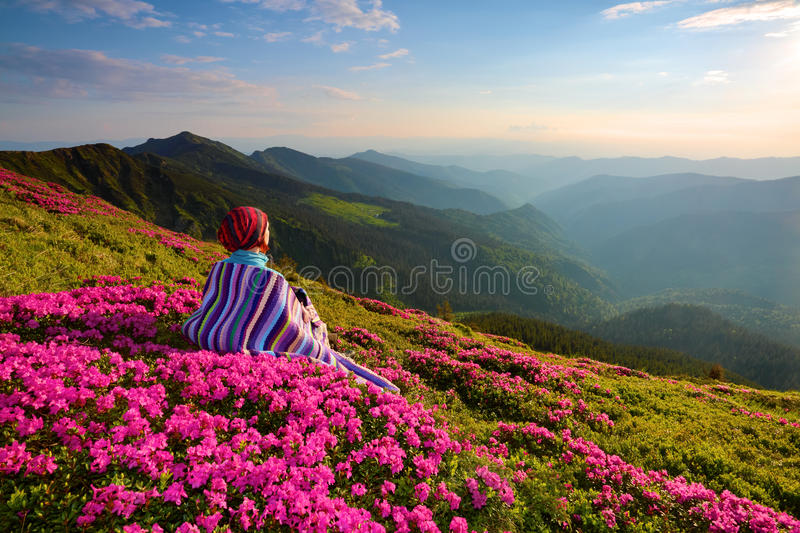 The girl sits on the lawn covered with pink flowers. royalty free stock photo