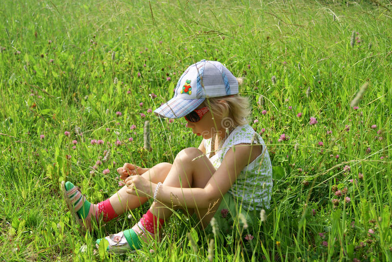 Download Girl sits on meadow stock image. Image of summer, relax - 20336007