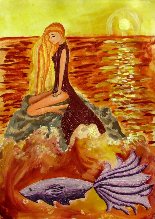 The girl sits on a stone in the middle of the sea at sunset, near the purple fish floats crafts from threads stock images