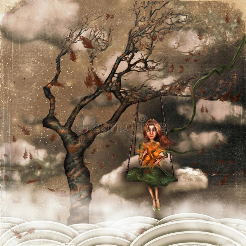 A girl sits on swings on a tree royalty free illustration