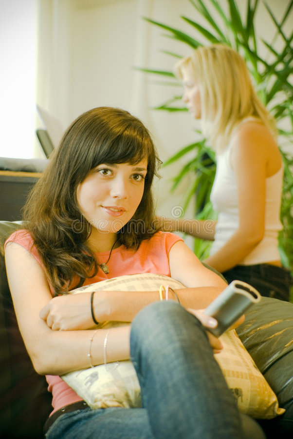 Download Girl Sits Watching Television Stock Photo - Image: 2714366