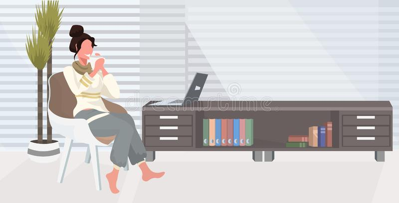 Girl sitting on armchair using laptop happy woman freelancer working at home drinking coffee modern living room interior stock illustration