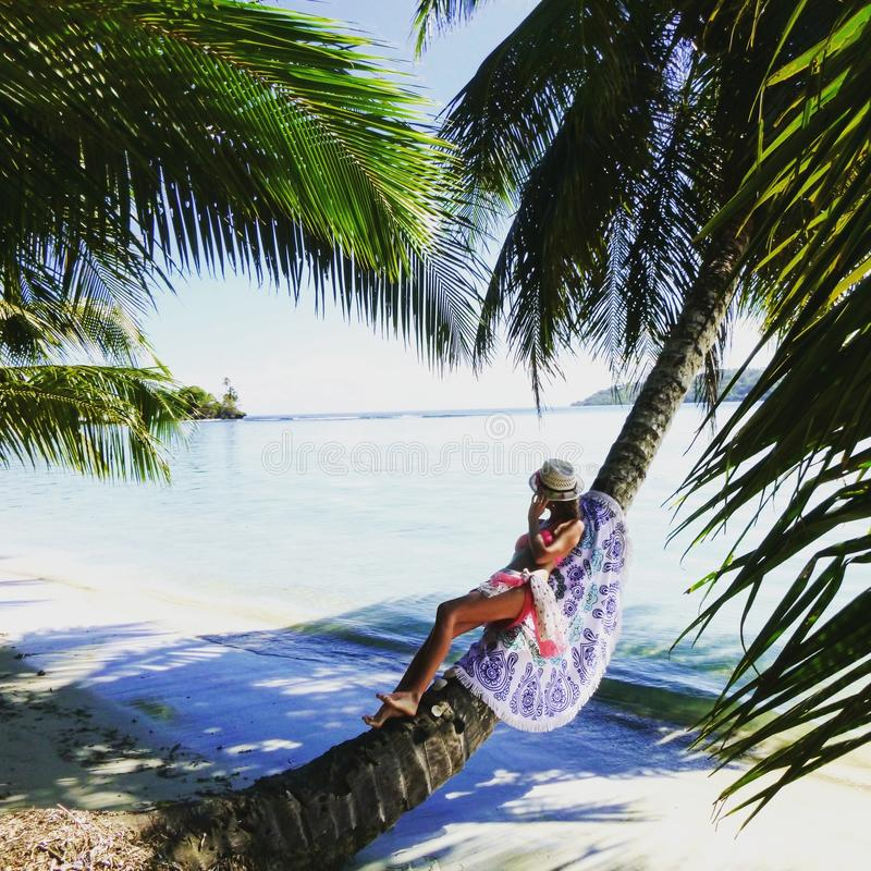 The girl is sitting on the beach on a paradise Carribean island,Carenero, Bocas del Toro, Panama stock image