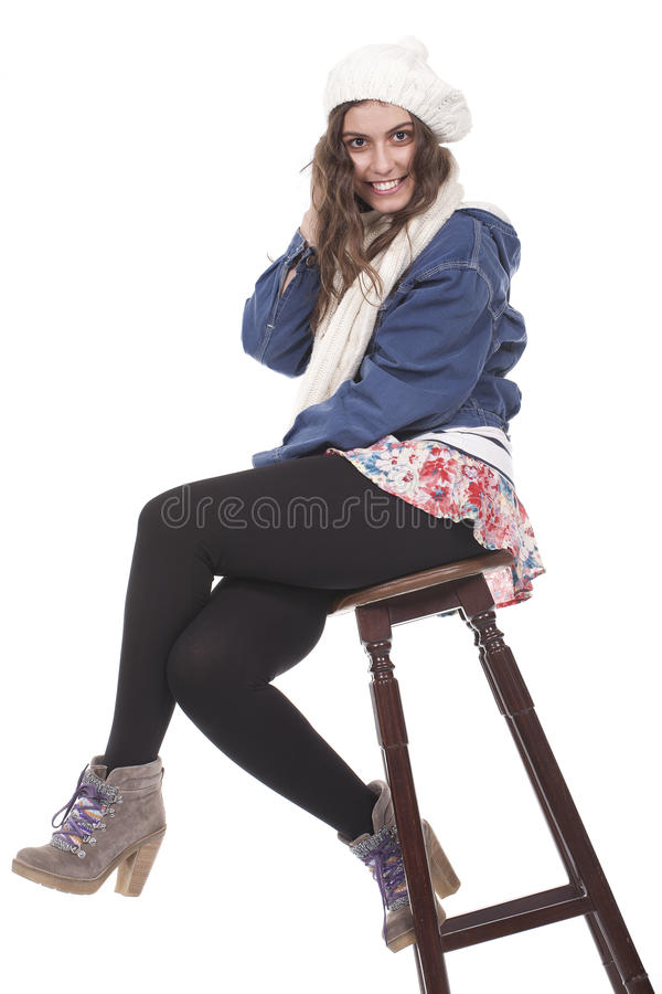 Download Girl sitting on a bench stock image. Image of smiley - 18485453