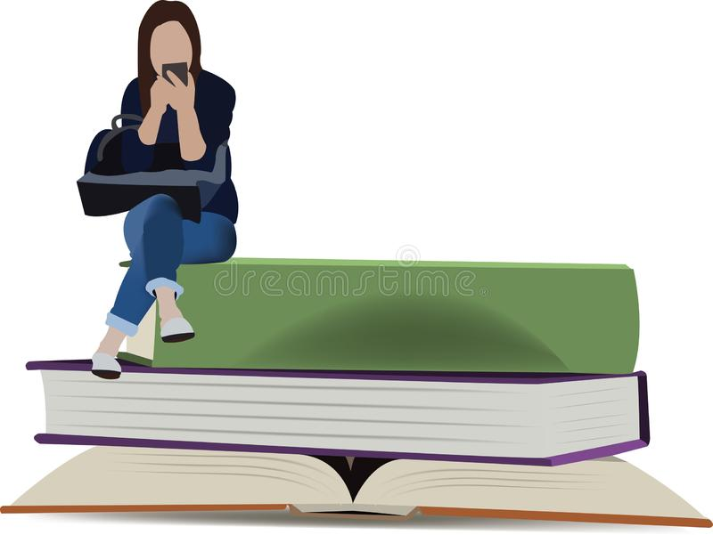 Girl sitting on books chatting with mobile phone royalty free illustration