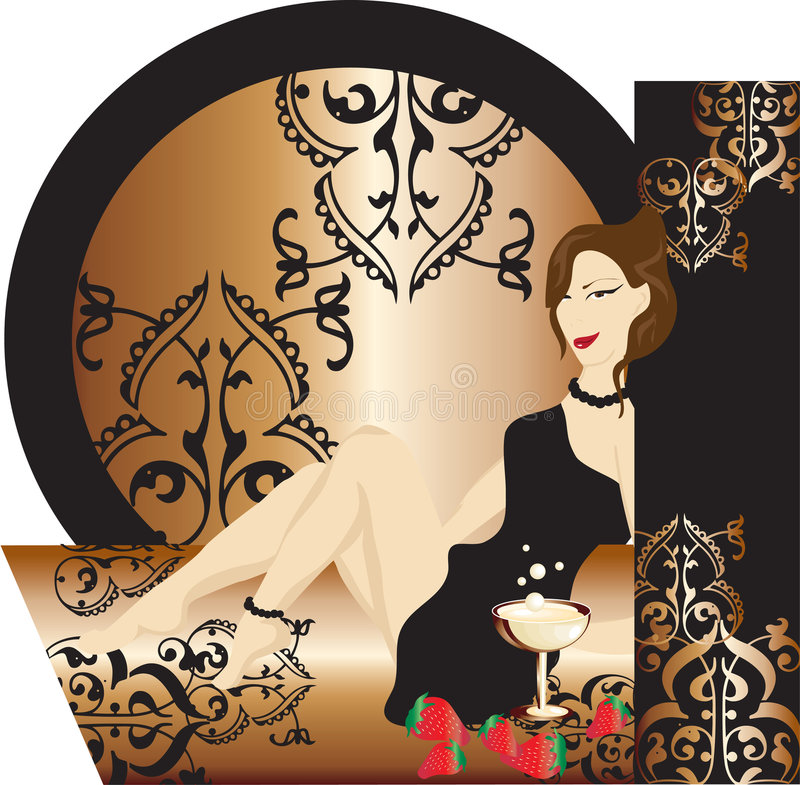 Download Girl Sitting On Carpet With Cocktail And Berries Stock Vector - Image: 5338492