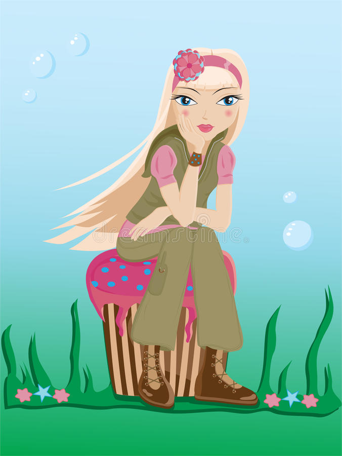 girl sitting on a cupcake vector illustration