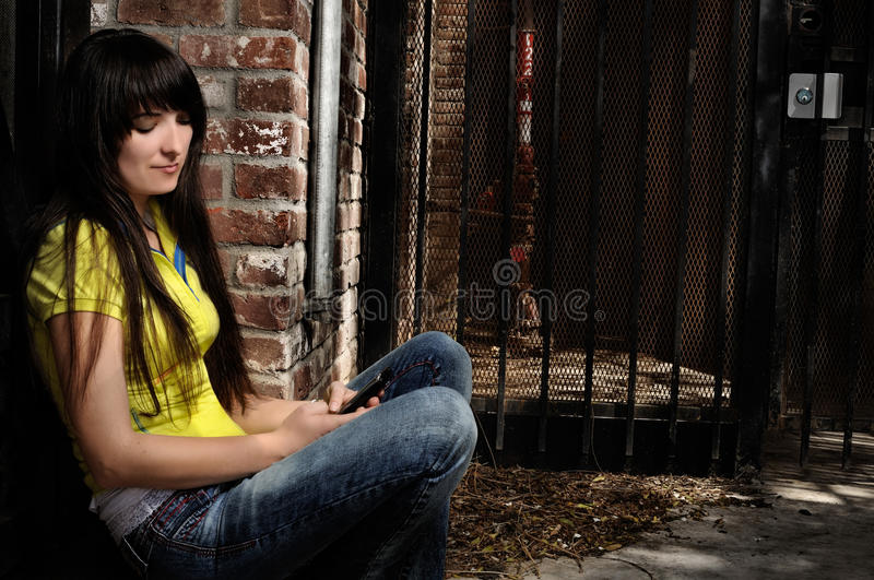 Download Girl sitting by the door stock image. Image of cute, hand - 25698893