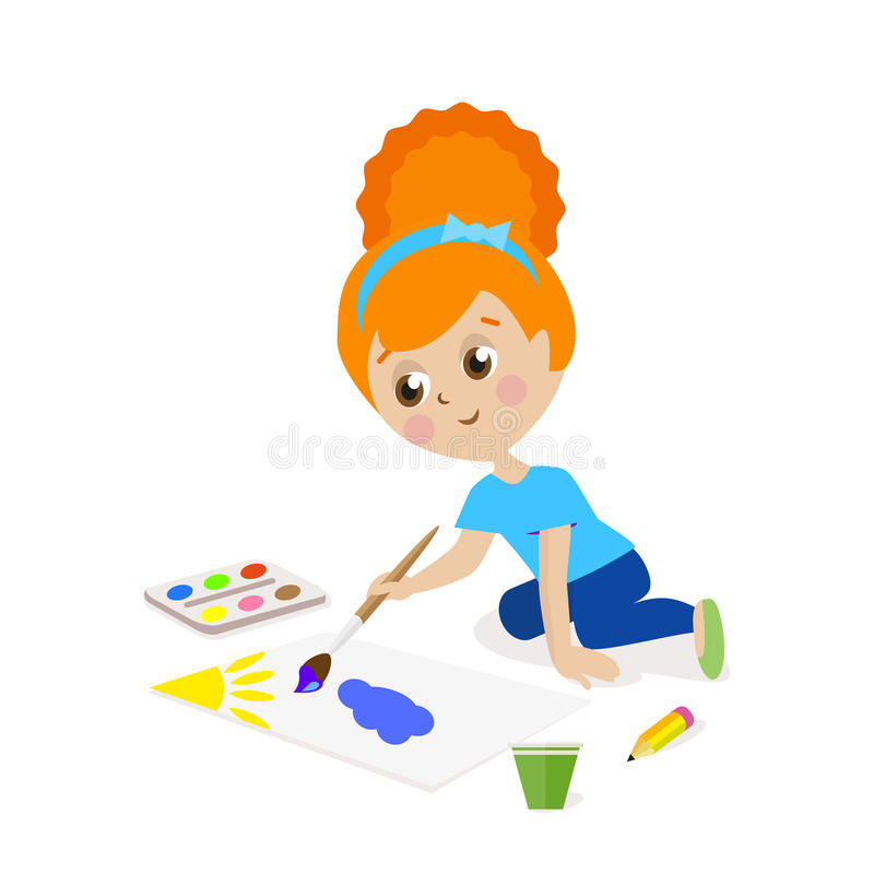 Girl sitting on the floor and draw a picture paints. The child is engaged in creativity. Gouache and watercolor. Flat royalty free illustration
