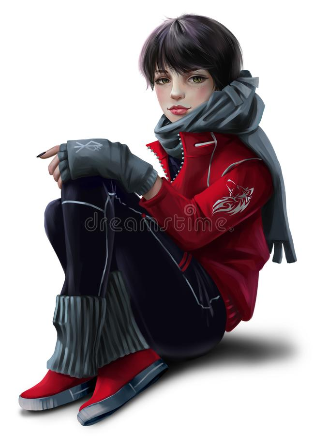 Girl sitting on the floor royalty free illustration