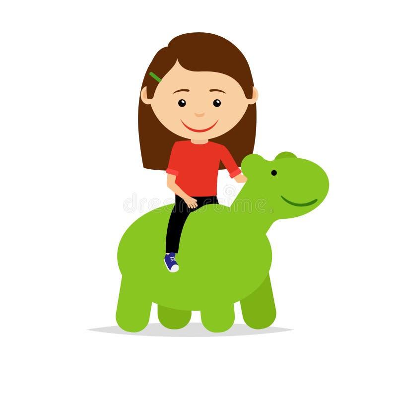Girl sitting on green dinosaur toy royalty free illustration