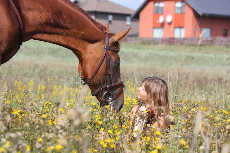 Girl sitting on the ground and chestnut horse standing near. Girl sitting on the ground with flowers and chestnut horse standing near royalty free stock photos