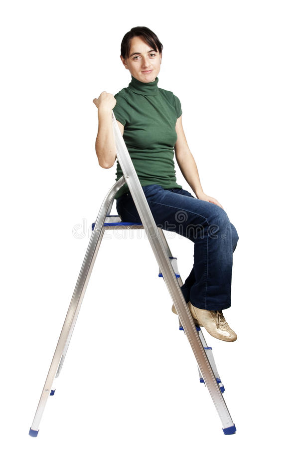 Download Girl sitting on the ladder stock photo. Image of female - 16906448