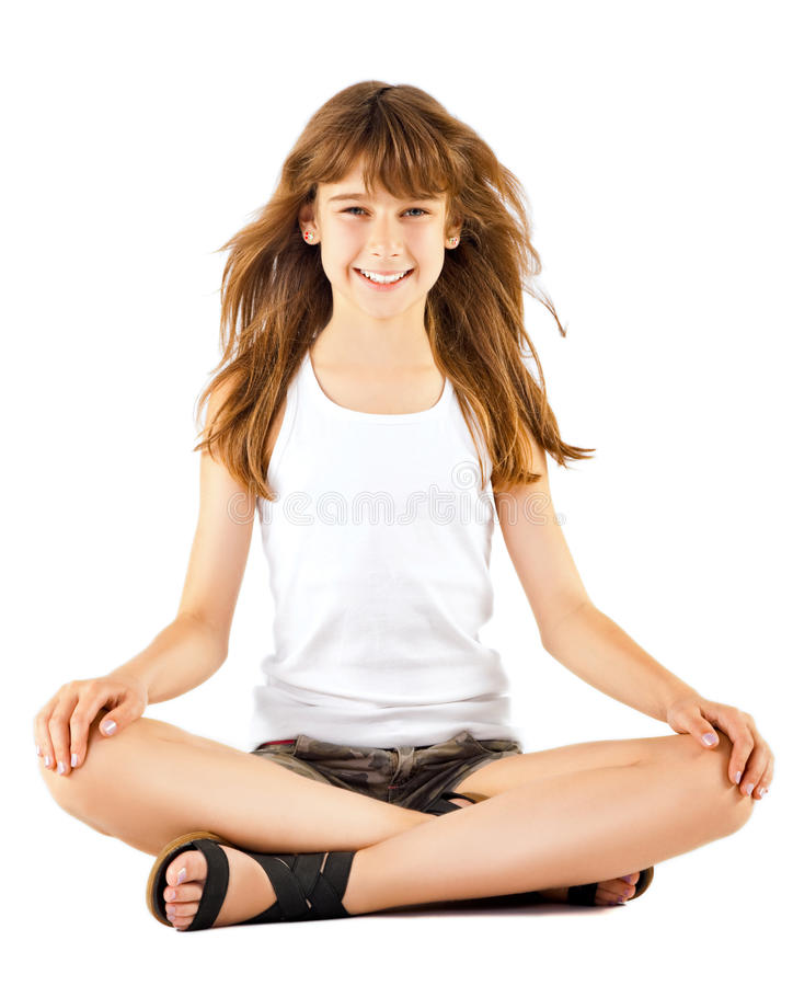 Download Girl Sitting In Lotus Position Stock Image - Image of sweet, cute: 21861621