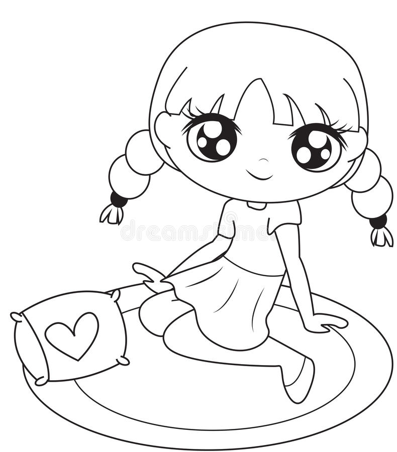 Girl sitting on a mat coloring page royalty free illustration