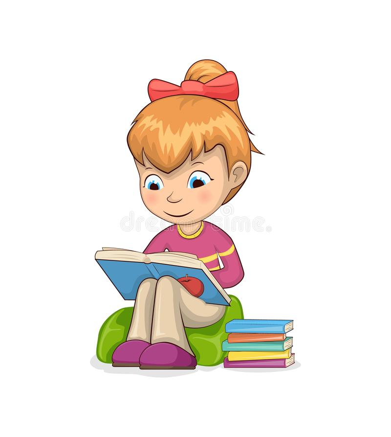 Girl Sitting and Reading Books Vector Illustration vector illustration