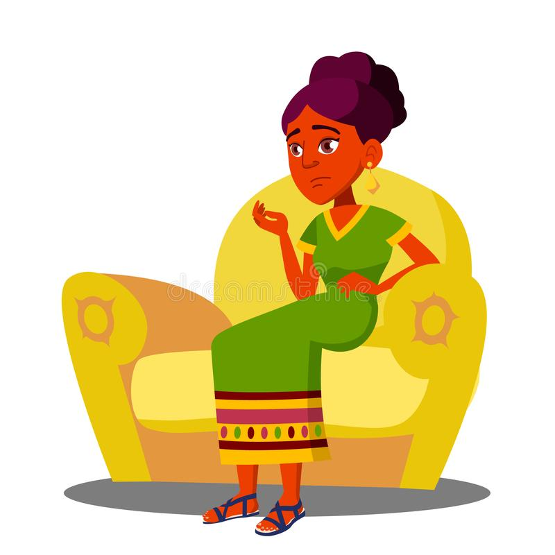 Girl Is Sitting On Sofa With Strong Abdominal Pains Vector. Isolated Illustration royalty free illustration