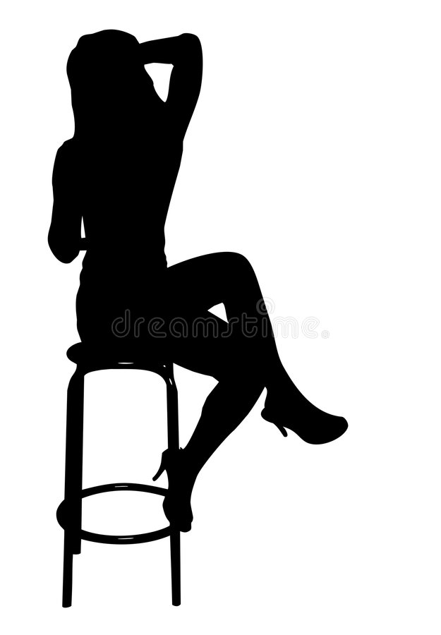 Girl sitting on stool royalty free stock image