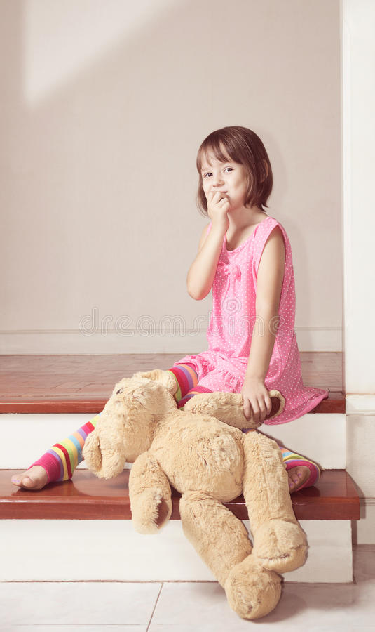 Download Girl Sitting With Teddy Bear And Laugh Stock Image - Image: 40313485
