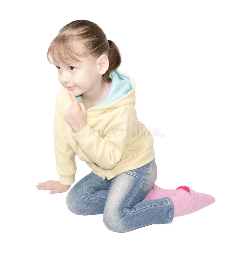 Girl sitting and thinking stock photos