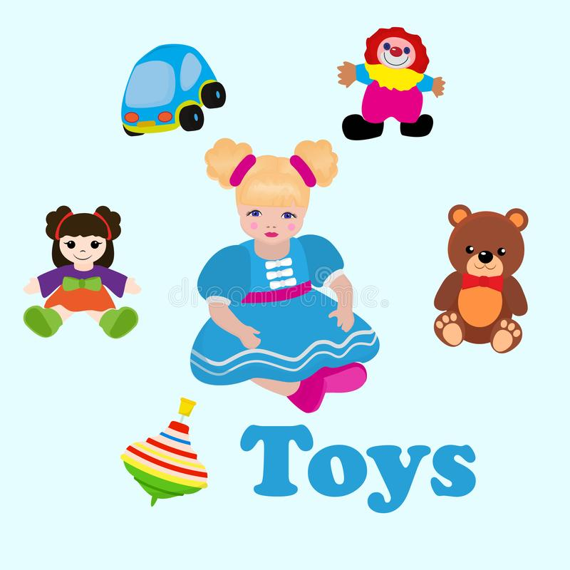 Girl sitting among toys. Colorful things in cartoon style for kids banner vector illustration. Childish design with doll vector illustration