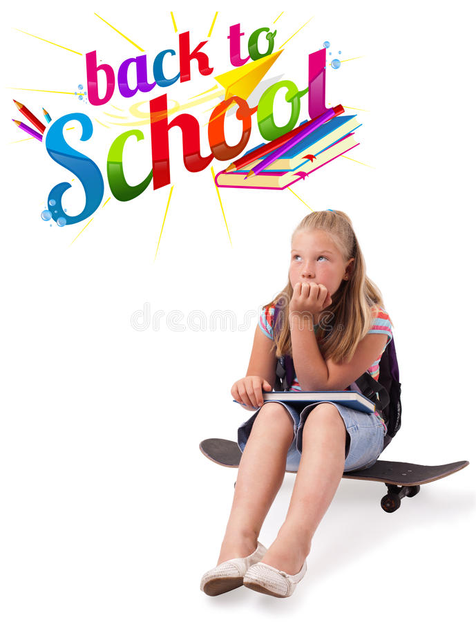 Girl on skateboard with back to school theme isolated on white royalty free stock images