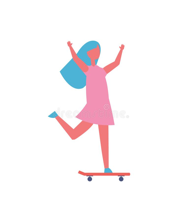 Girl Riding On Skateboard In Park Cartoon Icon Stock