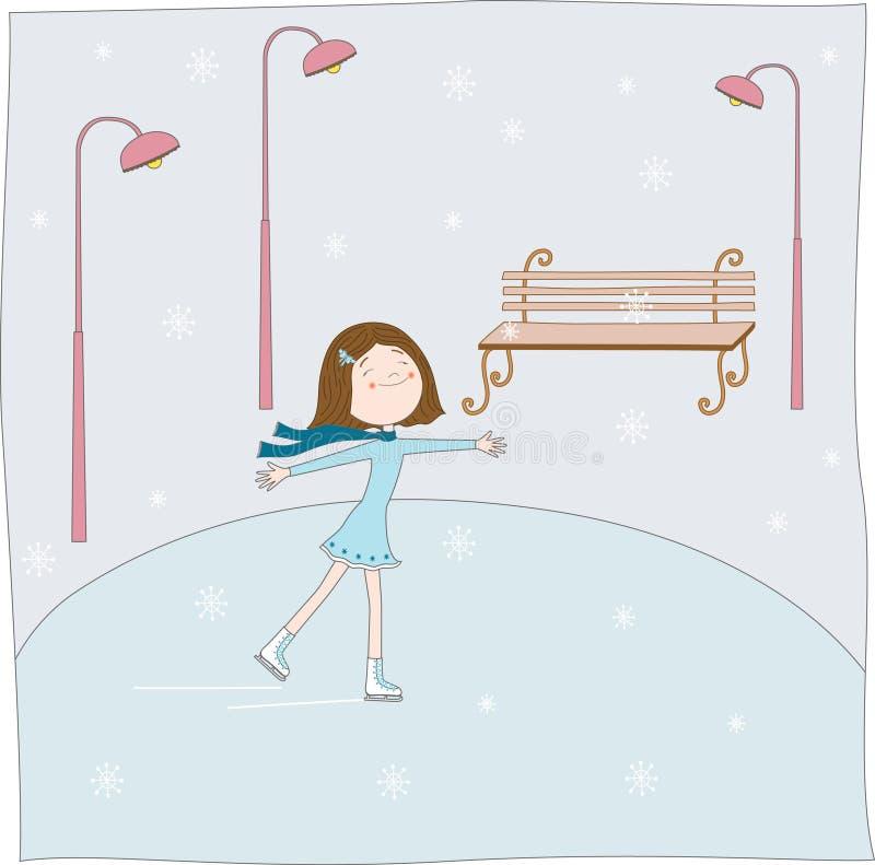 The girl skates. Vector illustration vector illustration