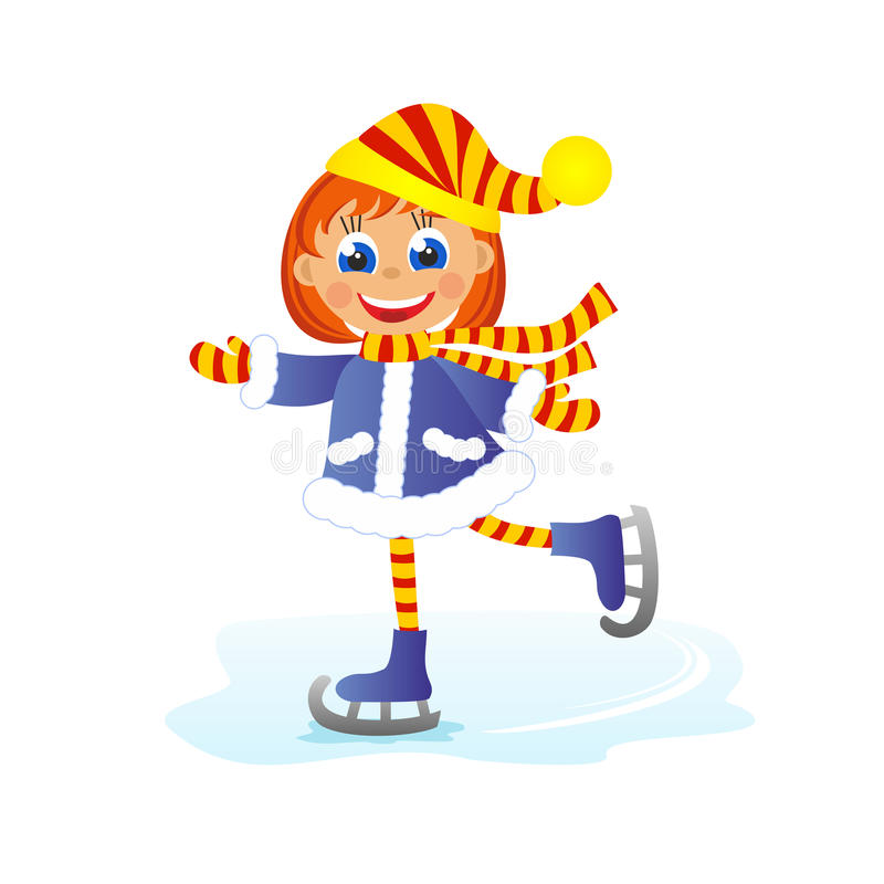 Girl skates. Childrens fun in winter on white background. Girl skates stock illustration