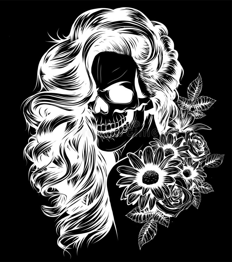 Girl with skeleton make up hand drawn vector sketch. Santa muerte woman witch portrait stock illustration royalty free illustration